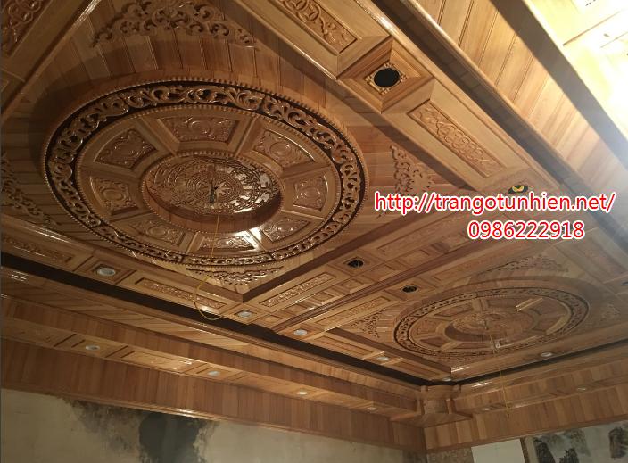 mẫu trần gỗ thi công tại đông anh hà nội