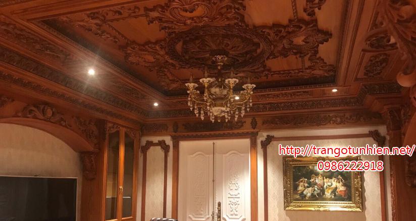 trần gỗ cổ điển cho lâu đài đẹp
