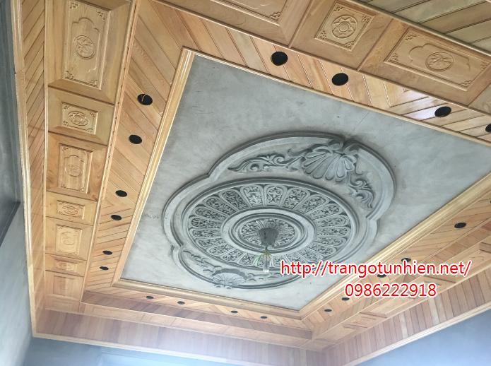 trần gỗ kết hợp trần bê tông