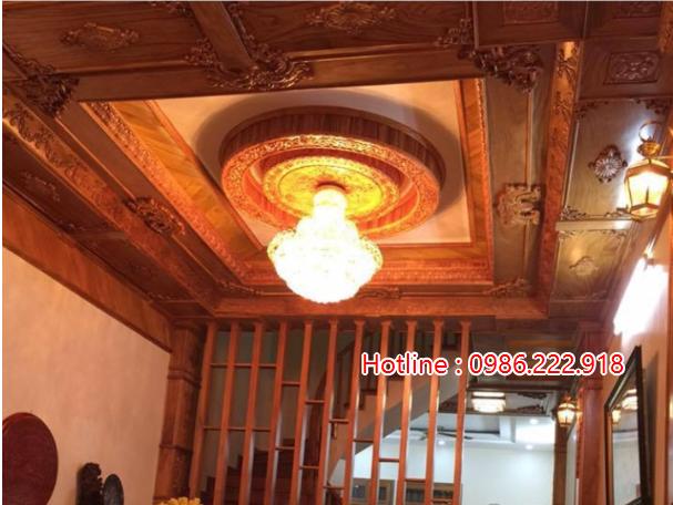 trần gỗ kết hợp trần thạch cao